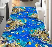 Custom photo 3d pvc flooring self adhesion wall sticker Underwater World Fish Coral painting bedroom wallpaper for walls 3 d
