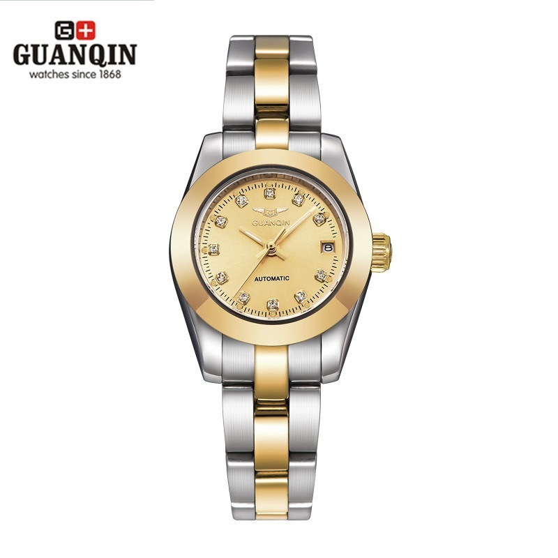 купить 2018 GUANQIN Automatic Watch Women Waterproof Diamond Women Mechanical Watch To Brand Luxury Watch Girl Diamond Clock по цене 3920.06 рублей