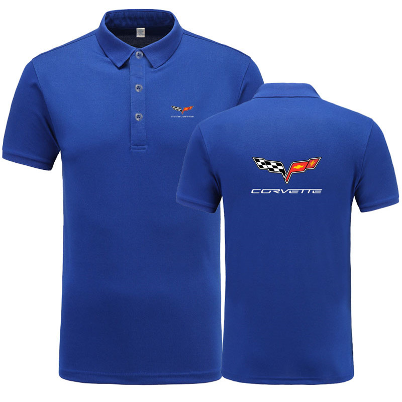 New Summer Short-sleeve   Polo   Homme High Quality Cotton Fashion Chevrolet corvette logo Print   Polo   Shirt