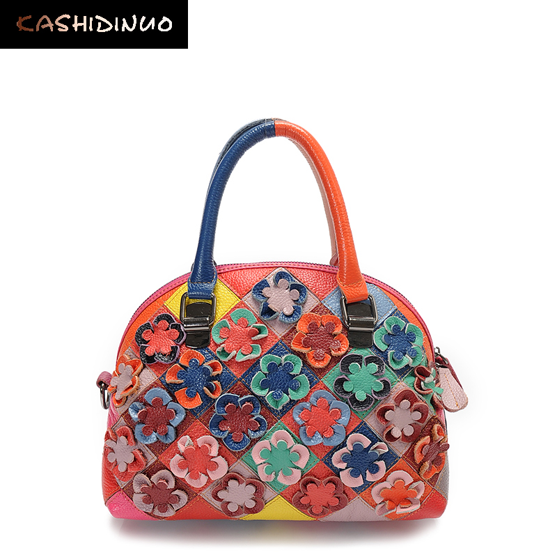 KASHIDINUO Brand Luxury Women Genuine Leather Bags Women Handbags Patchwork Mess