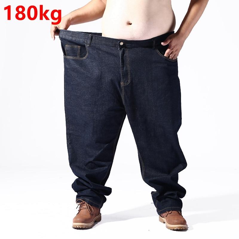 Big Size Jeans Men Super Size 180kg Pants Elastic Waist Elastic Smart Casual Loose Pants Oversize 8XL 7XL 5XL