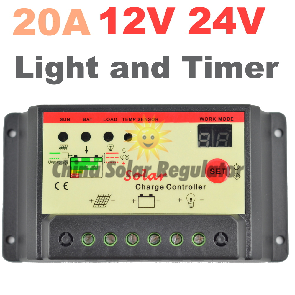20a Solar Controller 12v 24v Panel Charger Battery With Overcharge Protection Electronic Light Timer Control For Led Street In Controllers From Home