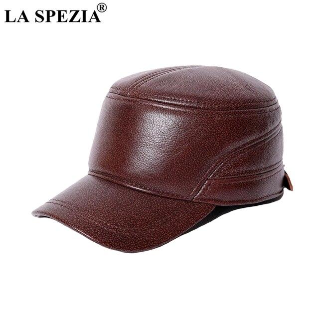 a0f2ebfda62 LA SPEZIA Genuine Cow Leather Military Caps Men Brown Casual Army Cap Male  Luxury Fashion Spring Autumn Classic Flat Top Hat