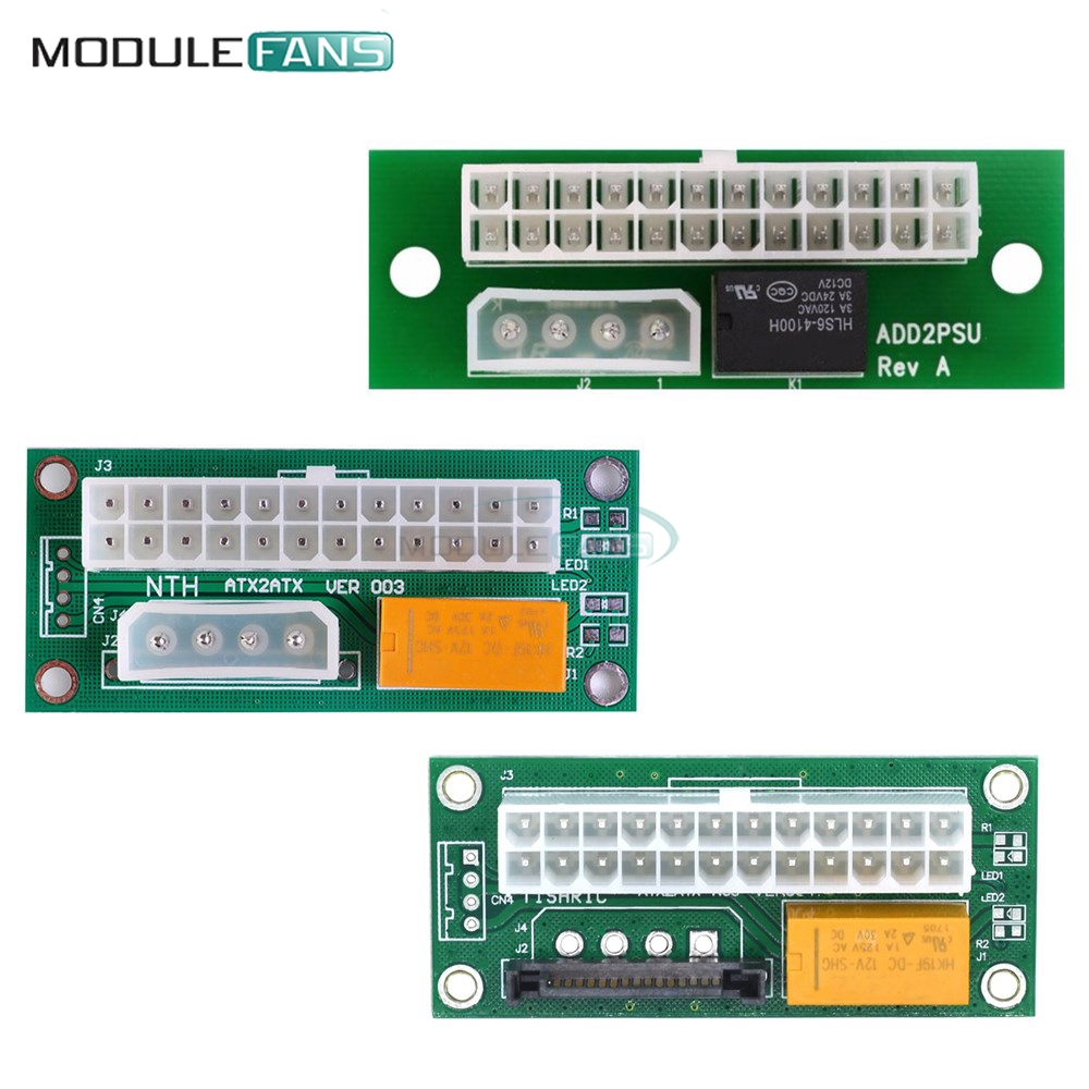 Адаптер питания ATX на SATA Molex 24pin 24P, тройное реле, адаптер для синхронизации и запуска, синхронизация с блоком питания, кабель-карта