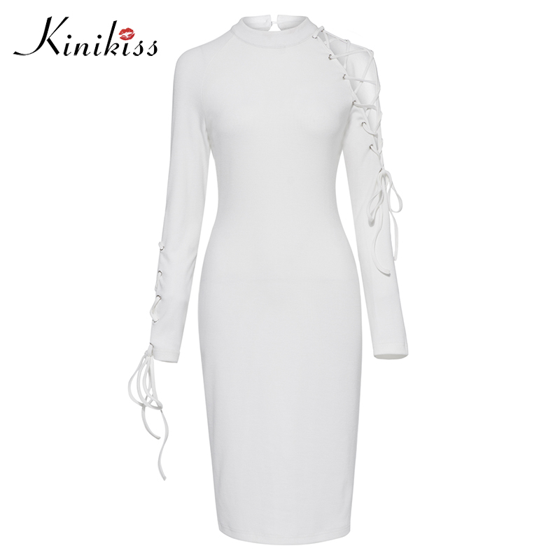 Kinikiss Women Stand Collar Bodycon Dress 2017 Autumn Long Sleeve Lace Up Hollow Out Bandage Dress White Elegant Knitted Dresses