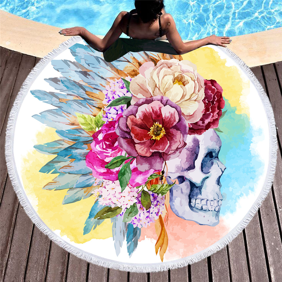 Beddingoutlet colorful skull round beach towel floral tassel tapestry watercolor flower yoga mat gothic toalla blanket 150cm in tapestry from home beddingoutlet colorful skull round beach towel floral tassel tapestry watercolor flower yoga mat gothic toal