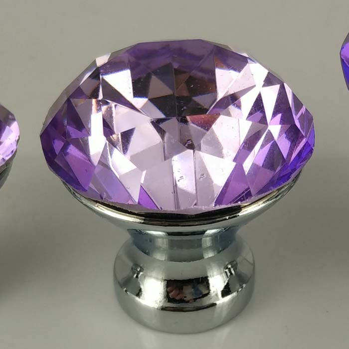 Purple Crystal Drawer Knobs 30mm Kitchen Cabinet Handle
