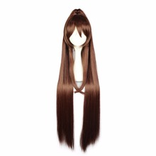 MCOSER 110 CM Long Straight Brown Color Mixed Synthetic Braided Ponytail  Cosplay Wig 100% High Temperature Fiber WIG-577O
