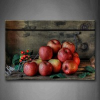 Framed Wall Art Pictures Red Apple Leaf Canvas Print Food Poster With Wooden Frame For Home Living Room And Office Decor
