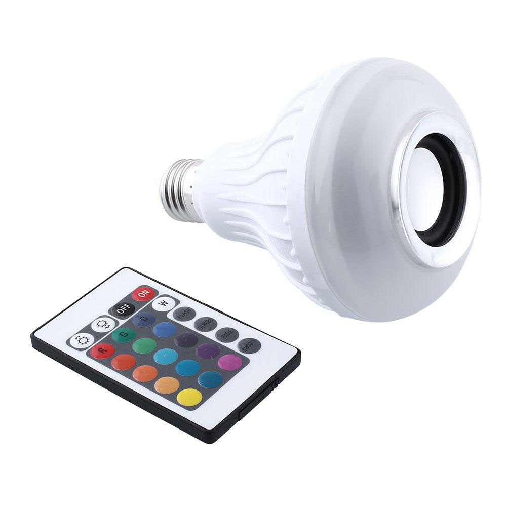 Wireless E27 Bluetooth 3.0 Stereo Audio Speaker RGB Color White Bulb Music Lamp wireless bluetooth speaker led audio portable mini subwoofer