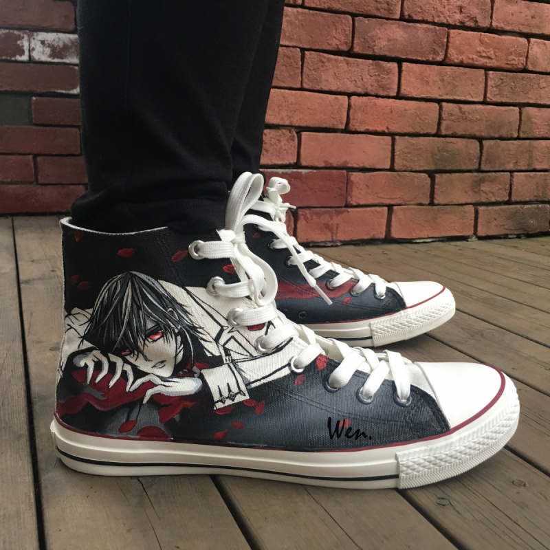 Wen Anime Hand Painted Shoes Vampire Knight Kaname Kuran Woman Man's Anime High Top Canvas Sneakers Boys Girls Gifts requiem vampire knight vol 4