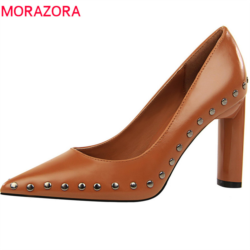 MORAZORA new arrive women pumps spring summer fashion rivet simple pointed toe shallow red brown comfortable high heels shoes moonmeek new arrive spring summer female pumps high heels pointed toe thin heel shallow party wedding flock pumps women shoes
