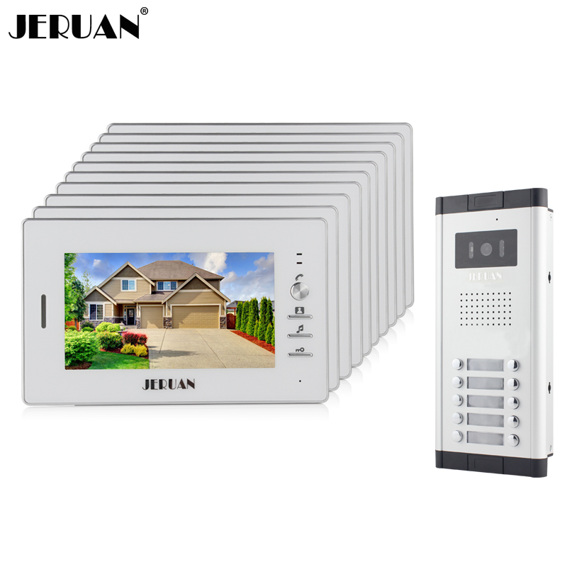 JERUAN Wholesale Apartment 7 Video Intercom Door Phone Entry System 10 Monitor + 1 Doorbell Camera for 10 house FREE SHIPPING jeatone 10 tft wired door phone doorbell intercom monitor 2 8mm lens 1200tvl camera 1v1 kit for private house free warranty