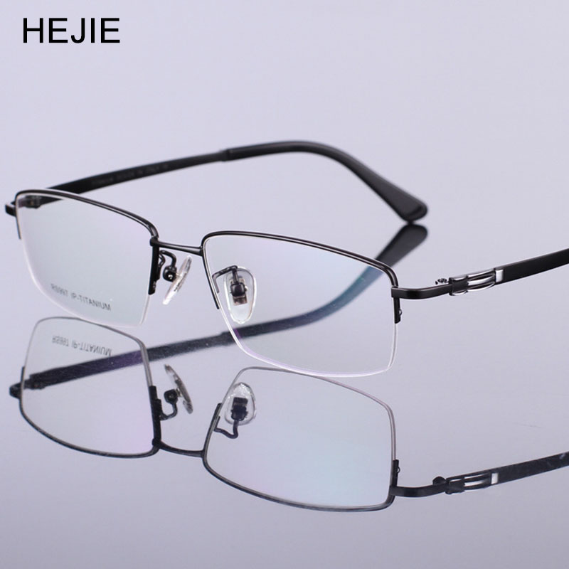 Sınıf Erkekler Saf Titanyum Gözlük Çerçeveleri Marka Yarım - Elbise aksesuarları