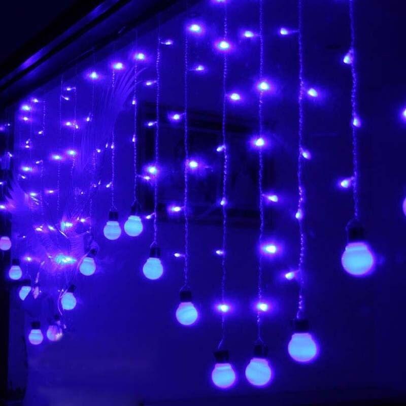 Novelty 2x1m leds LED Ball Curtain String Light Lamps New Year Christmas Garland Luminaria Chandelier Wedding lighting Decor fairy 4x0 65m led droop butterfly curtain light new year christmas garland string lighting wedding party lamps luminaria decor