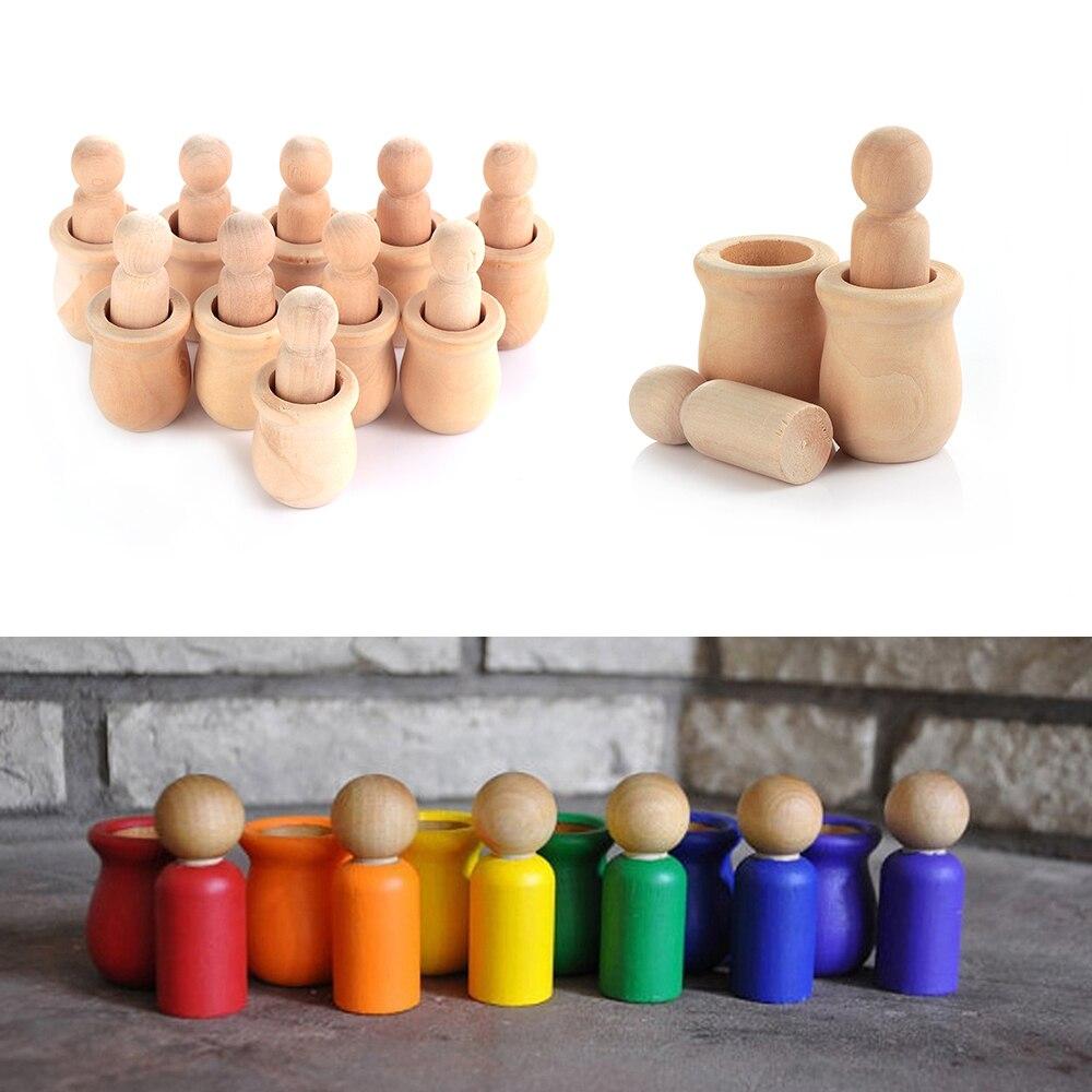 Cute 5/10pcs/set Unpainted Blank Wooden Peg People Nesting Set Peg Dolls Crafts DIY Montessori Toy Creative Kid Toy Wedding Home