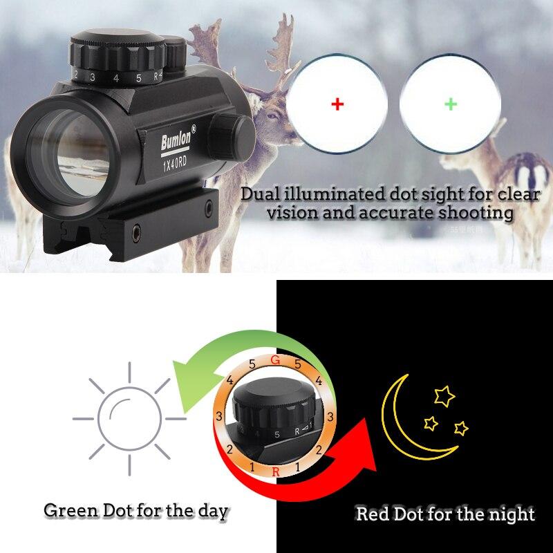 mira holográfica 1x40, ponto vermelho e verde,