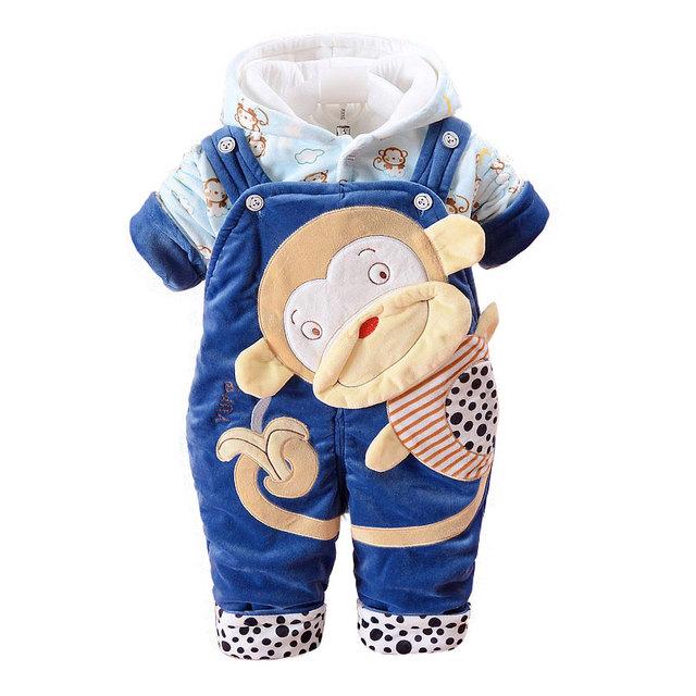 Flanela Macaco Do Bebê Roupa Do Bebê Macio Flanela manga Longa Casaco Com Capuz + Macacão 2 pcs Roupas Para Recém-nascidos Meninos Da Criança pano