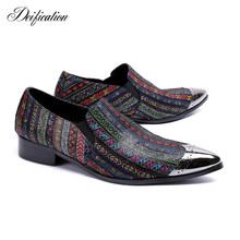 Deification Italian Leather Mens Dress Shoes Slip On Men Formal Fashion Colors Printed Wedding