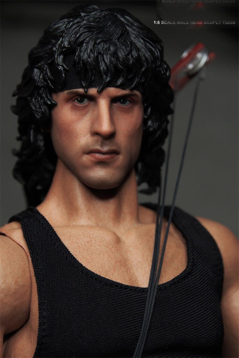 Mnotht Toy Custom 1/6 Sylvest Stallone Rambo Head Sculpt For Hot Toys & Ganghood Body 12in Auction Figures Toys L30 mnotht toys 1 6 emilia clarke head sculpt carving model for 12 figure peaktoys pt002 presale toys l30