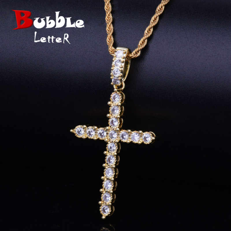 Gold Silver Cubic Zircon Cross Pendant Necklace Copper Material Bling CZ Men Women Hip Hop Jewelry With Cuban/Rope Chain