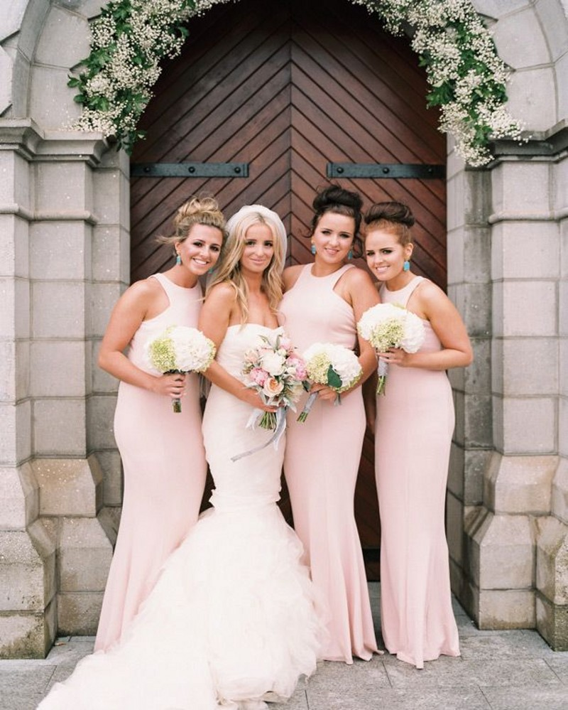 2016 spring summer bridesmaid dresses light pink mermaid dress 2016 spring summer bridesmaid dresses light pink mermaid dress sheath women long dress chiffon custom cheapest dress in bridesmaid dresses from weddings ombrellifo Image collections