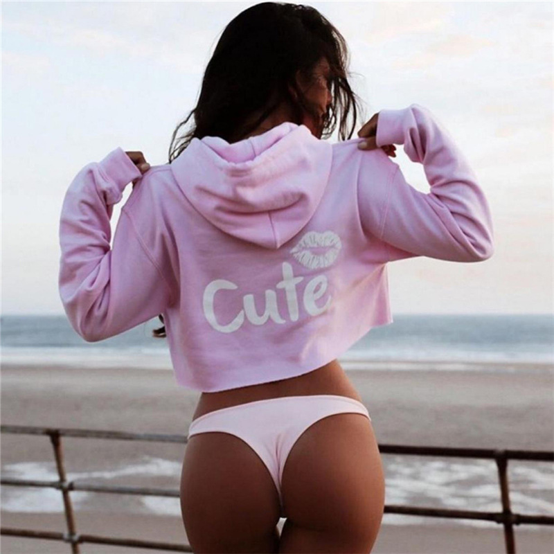 kawaii The new beauty lips of the womens wear with a floral print and a long sleeve hoodie sweatshirt hoodies sudadera mujer