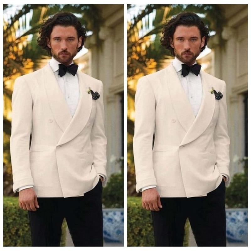 Ivory Tuxedos For Men Shawl Lapel Formal Wedding Groom