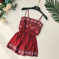 Casual Floral Combishort O Cou Réservoir Sexy Body Femmes Shorts Boho Salopette robe D'été Style Broderie Station Porter Barboteuse