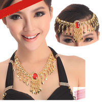 necklace headwear Belly dance hair accessories decorations for hair neck indian dance gold chain red diamond necklace for women