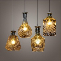 Modern Minimalist Vintage Wine Bottle Pendant Lights CafeRoom Bar Lamp Single Glass Pendant Lamps Decoration Indoor