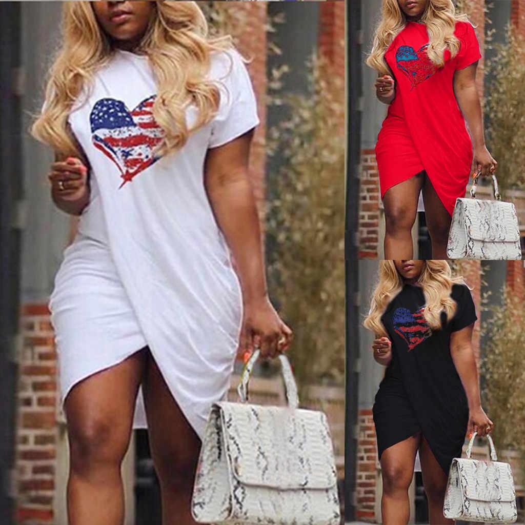Hot Sale Ladies Casual Love Heart Pattern Flag Print Dress Short Sleeve  Split Mini Dress Summer 0b12caa09d5b