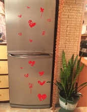 Lovely Butterfly & Cat Removable Fridge Decals,Cute Cat Heart Waterproof  Vinyl Sticker For Refrigerator  Decor Free Shipping