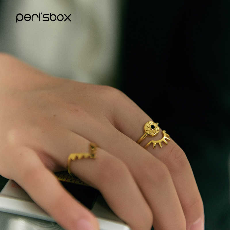 Peri'sBox 3pcs/Set Black Rhinestone Eye Ring for Women Delicate Gold Stackable Ring Set Fashion Thin Stacking Ring Wholesale