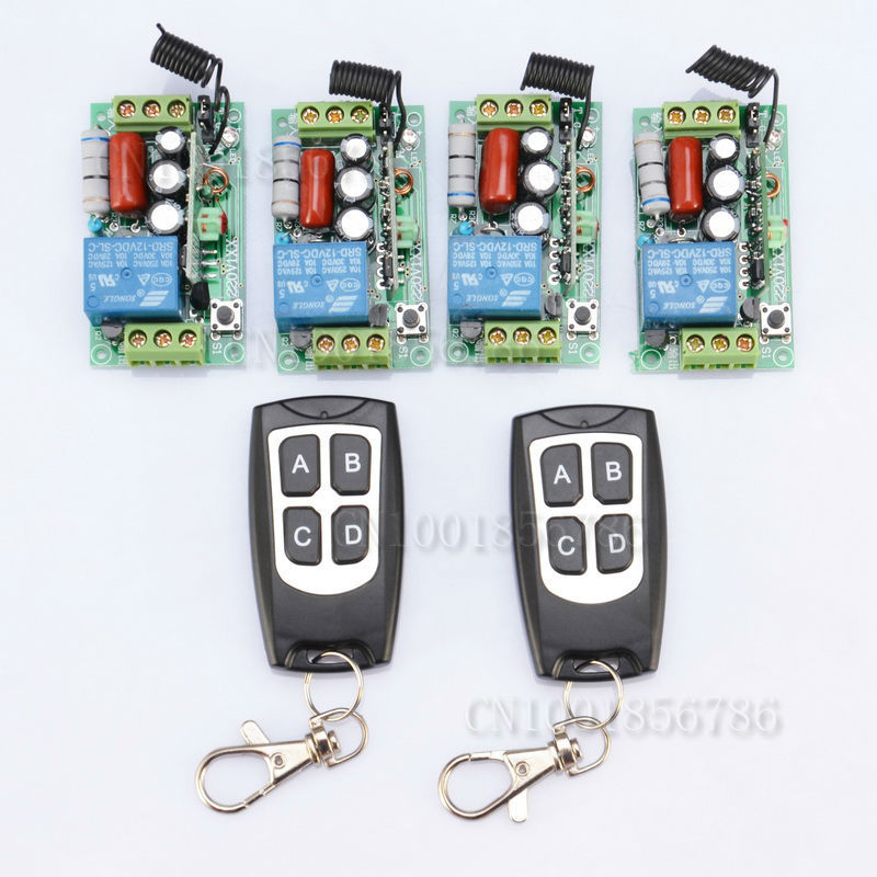 220V Wireless Remote Controller Relay Switch System 4 Receiver& 2 Transmitter 1CH 10A Light Lamp LED SMD ON OFF 4 relay ch wireless receiver
