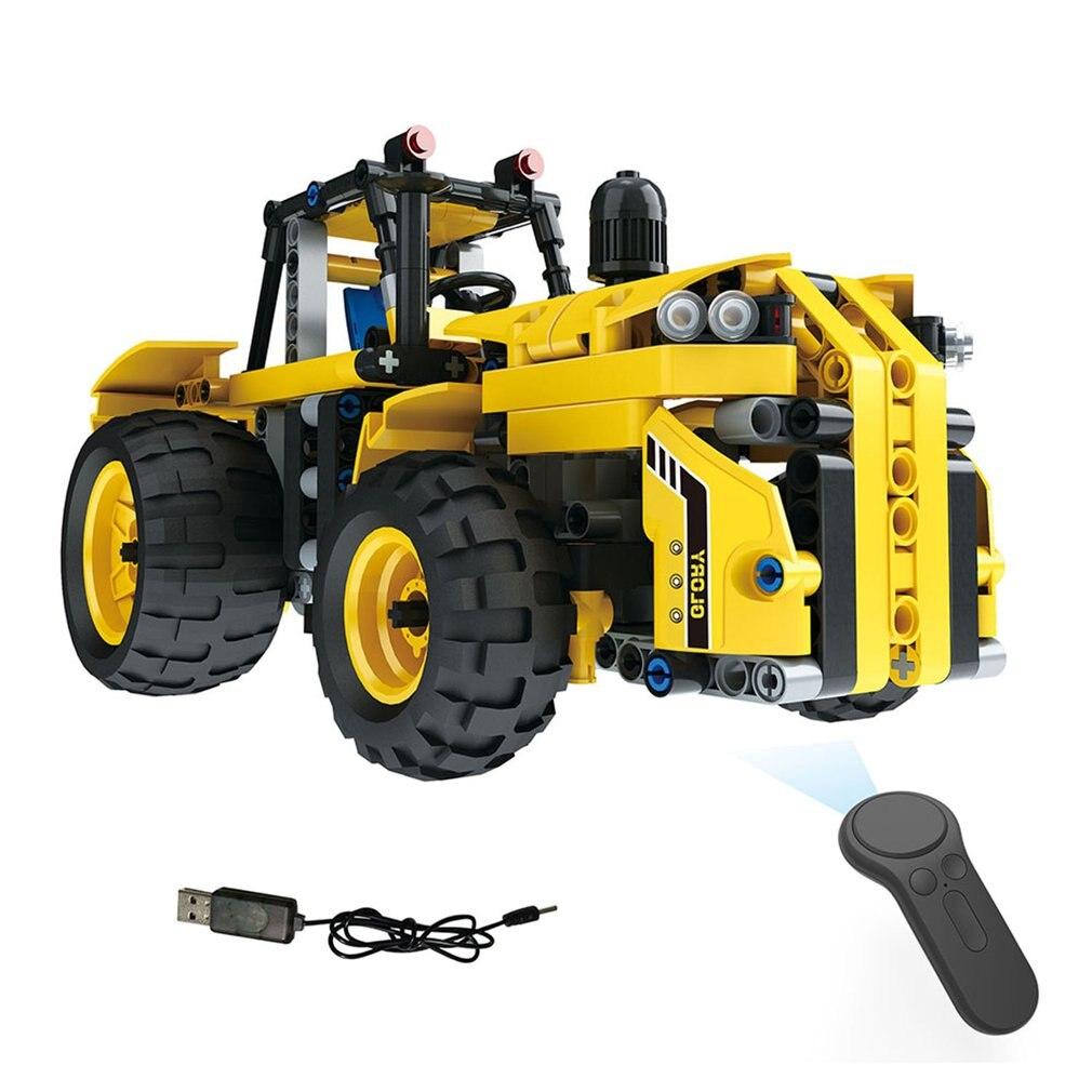 Stetig Mofun-13017 2,4g 4ch Usb Lade Gebäude Block Simulierte Rc Elektrische Traktor 382 Stücke Diy Rc Auto Modell Für Kinder Geschenke Fernbedienung Spielzeug