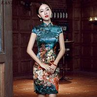 الصيف امرأة شرقية نمط فساتين خمر الأزهار طباعة اللباس الصينية تشيباو اليوسفي طوق قصيرة شيونغسام S-3XL NN0513 yq