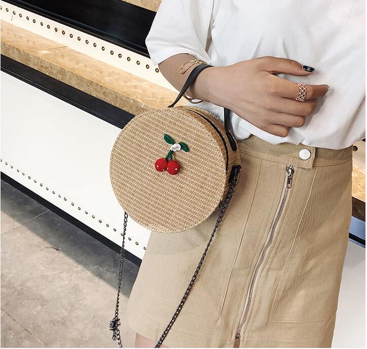 Sacs à bandoulière pour femmes 2018 sacs ronds faits à la main Style bohème plage paille unique épaule chaîne sangle sacs à main sac Messenger. - 5