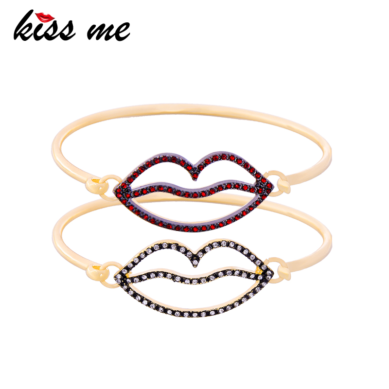 KISS ME Clear Red Rhinestone Lip Bracelets Bangles New Design Gold Color Alloy Hand Chain Indian Jewelry chain