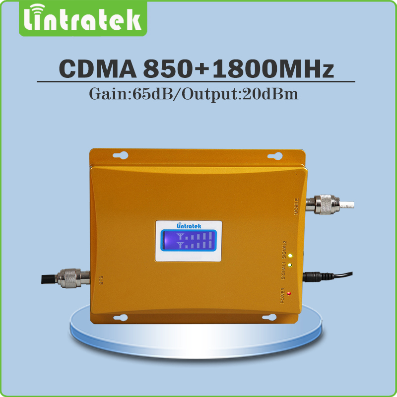 Lintratek Gain 65dB Signal Amplifier <font><b>850Mhz</b></font> 1800Mhz cellphone signal booster CDMA DCS Dual Band Signal Repeater with display @82 image