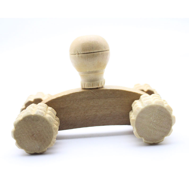 Solid Wood Full-body Four Wheels Wooden Car Roller Relaxing Hand Massage Tool Reflexology Face Hand Foot Back Body Therapy 1