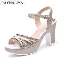 Women Open Toe Office High Heels Sandal Shoes Ladies Fashion Thick Platform Belt Buckle Party Sandals Pink Gold YG B0124