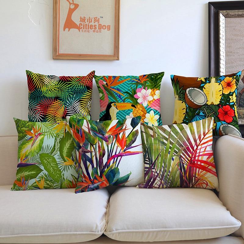 Moda Wysokiej Jakości Afryki Tropikalna Roślina Banan Liść ptak Użytkowa Rzuć Poszewka na poduszkę Poszewka Sofa Home krzesło samochód Decor