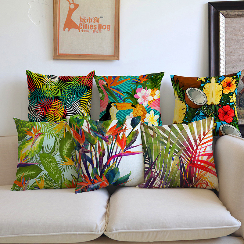 Fashion High Quality Africa Tropical Plant Banana Leaf bird Decorative Throw Pillow Case Cushion Cover Sofa Home chair car Decor ...