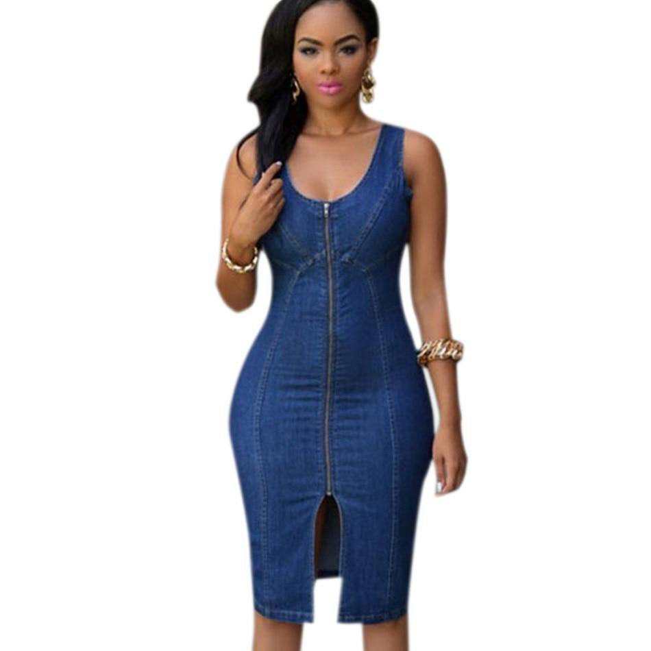 764040382f3 Summer Casual Sexy Bodycon Women Jeans Dress Knee Length Sleeveless Open  High Split 2016 Denim Dress Midi Vestido Jeans Feminino-in Dresses from  Women s ...