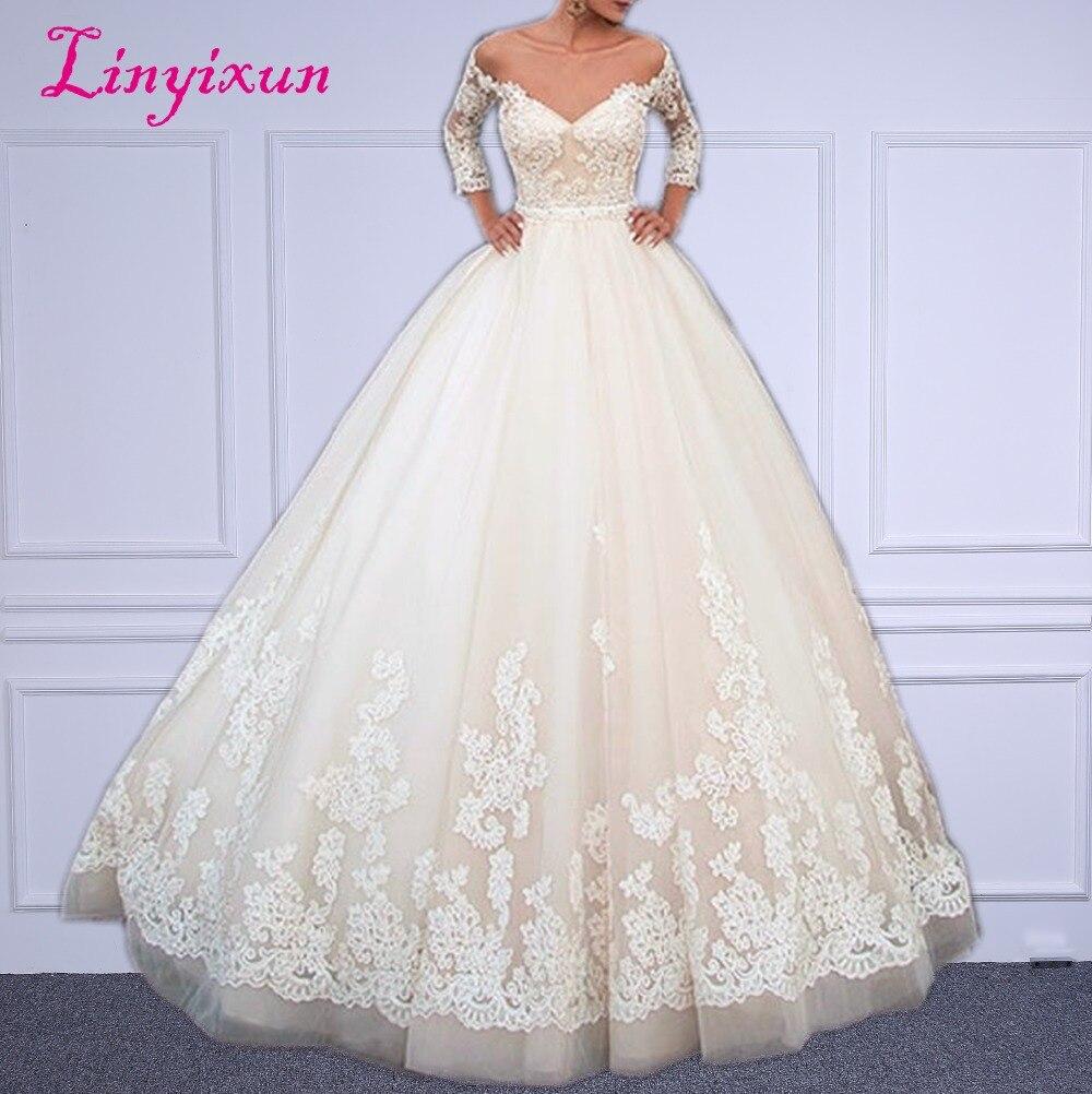 Linyixun Vestido De Noiva De Renda robe De mariée élégante 2018 robes De mariée dos nu dentelle princesse robe De mariée sur mesure