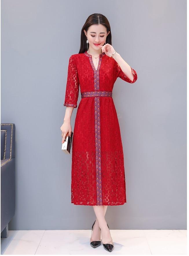 École Red Filles Rouge 2018 Dîner Casual Mode Chine Dame Style Mince Robe De Dentelle Robes Manches XlA54 Femmes Élégant Club shQCdBtrx