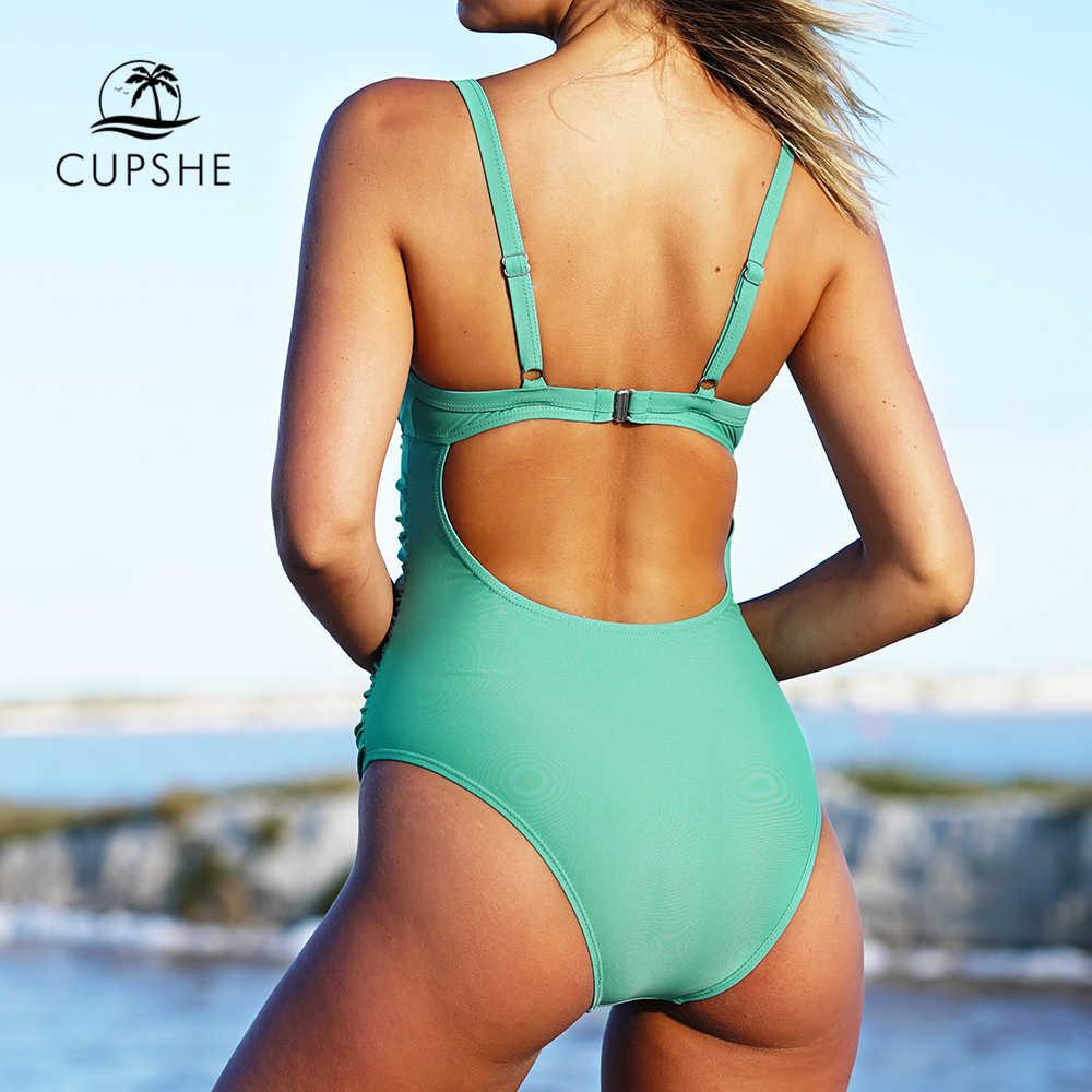 bf0297134f9e9 ... Cupshe Green Grass Solid One-piece Swimsuit Women Plain Cutout Push Up  Monokini 2018 New ...