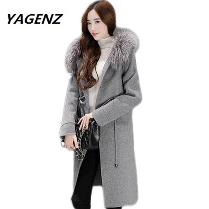 Parkas 2017 Faux Fox Fur Collar Womens Wool Coat Lady Fashion Breasted Female Suit Slim Women's woolen Nagymaros collar coat