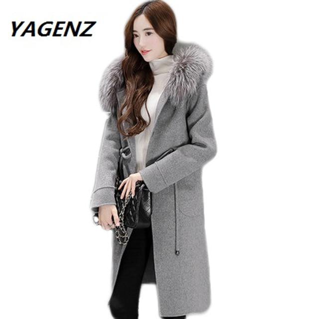 275f51fe9 Parkas 2019 Faux Fox Fur Collar Womens Wool Coat Lady Fashion Breasted  Female Suit Slim Women's woolen Nagymaros collar coat